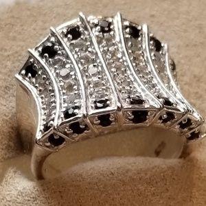 Sapphire & Zircon Corset Ring Sterling Silver